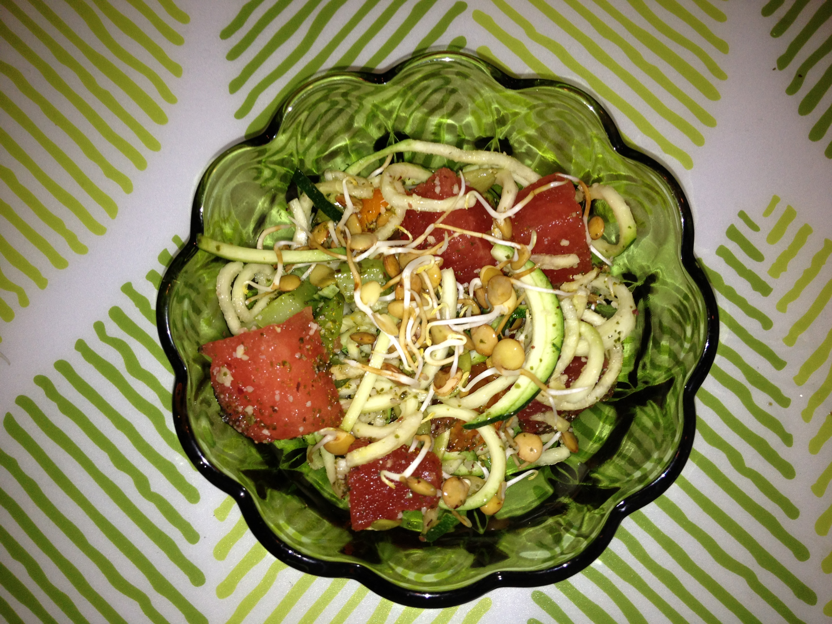 Zucchini Pasta and Watermelon Salad